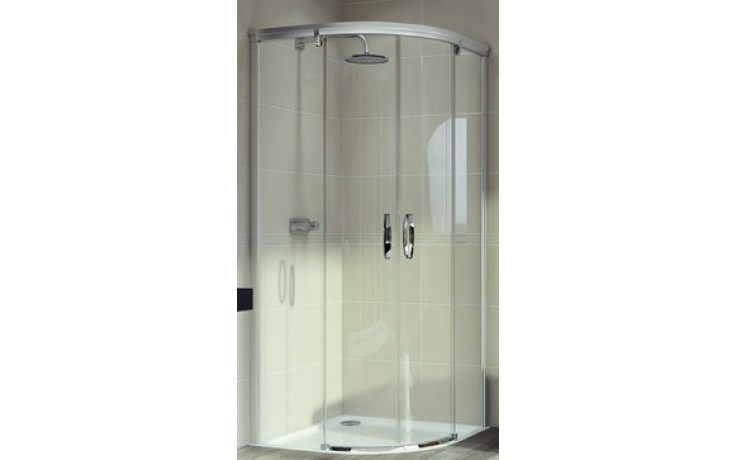 HÜPPE AURA ELEGANCE posuvné dveře 800x1900mm čtvrtkruh, bílá/sklo čiré Anti-Plague