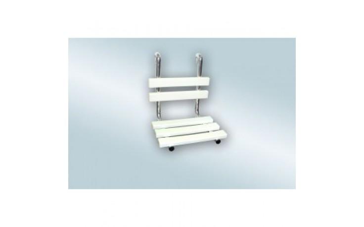 AZP BRNO REHA sprchové sedátko s opěrkou zad, závěsné, nerez-lesk/plast-bílá