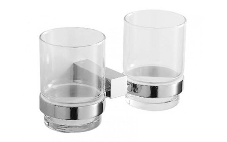 JIKA CUBITO dvojitý držák se skleněnými pohárky 178x92mm, chrom/transparentní sklo