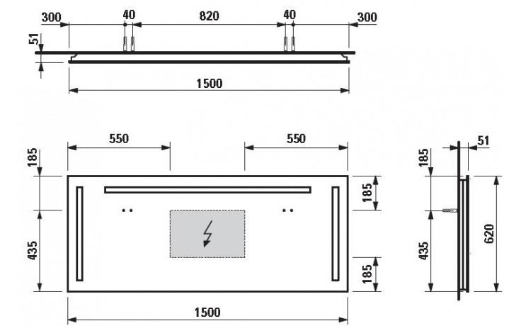 LAUFEN CASE zrcadlo 1500x48x620mm 3 zabudována osvětlení 4.4728.4.996.144.1