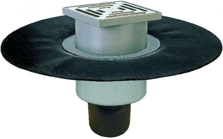 HL vpust DN50/70/100 podlahová, se svislým odtokem, s asfaltovou manžetou, polyetylen/nerez