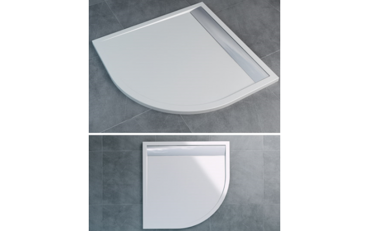 SANSWISS ILA WIR vanička 900x900x30mm čtvrtkruh, včetně sifonu a krytu, bílá/aluchrom