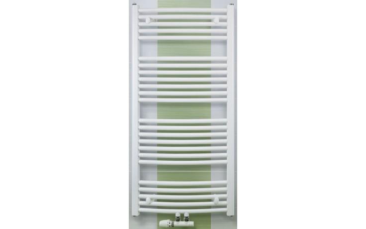 CONCEPT 100 KTOM radiátor koupelnový 617W prohnutý se středovým připojením, bílá KTO09800750M10