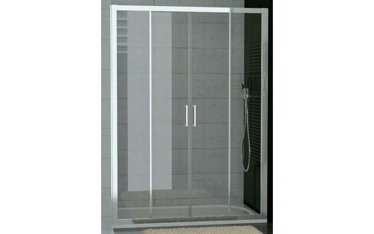 SANSWISS TOP LINE TOPS4 sprchové dveře 1400x1900mm, dvoudílné posuvné s 2 pevnými stěnami v rovině, aluchrom/čiré sklo