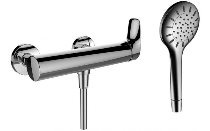 LAUFEN CURVEPLUS sprchová nástěnná páková baterie se sprchovou hadicí a ruční sprchou chrom 3.3109.7.004.141.1