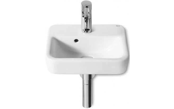 ROCA SENSO SQUARE umývátko 350x280mm s otvorem, s instalační sadou, bílá MaxiClean