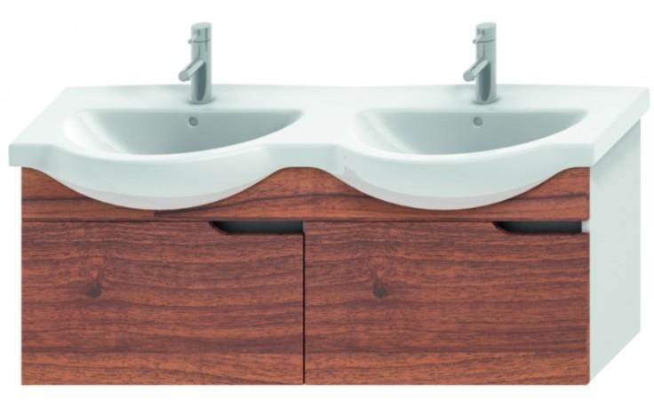 JIKA MIO umyvadlová skříňka pro nábytkové dvojumyvadlo 1256x340x505mm 2 zásuvky, bílá/ořech 4.3416.1.171.506.1