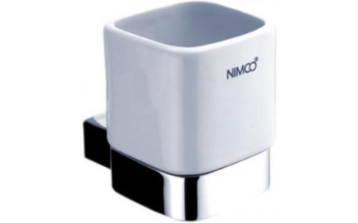 NIMCO KIBO držák na kartáčky 75x110x95mm, keramika/mosaz, chrom/bílá