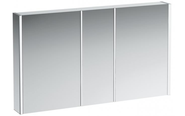 LAUFEN FRAME 25 zrcadlová skříňka 1300x150x750mm 3 dvířka, s LED osvětlením, hliník 4.0875.4.900.144.1