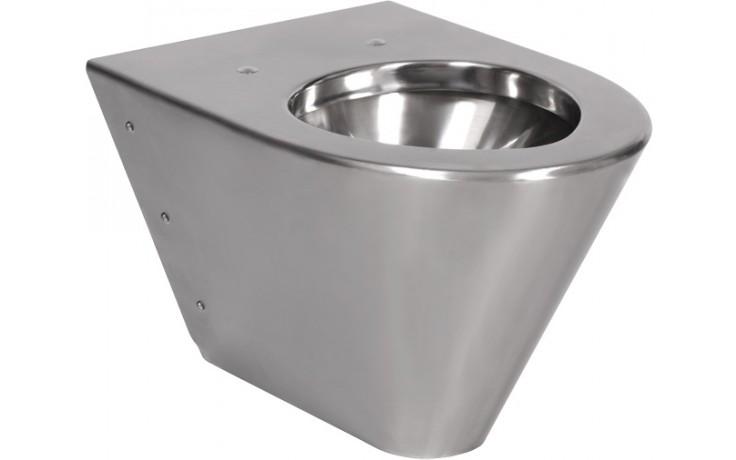 SANELA SLWN09 WC 359x515x350mm, závěsné, bez sedátka, antivandal, nerez mat