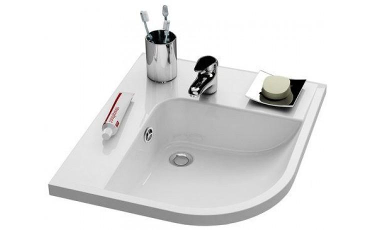 RAVAK BE HAPPY umyvadlo 570x500x185mm, levé, s otvorem a přepadem, bílá/litý mramor