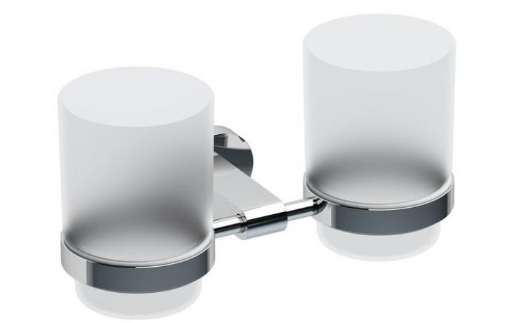 RAVAK CHROME CR 220.00 držák 189x99x95mm se dvěma pohárky chrom/sklo X07P189