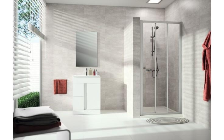 Zástěna sprchová dveře - sklo Concept 100 NEW, posuvné 2-dílné s pevným segmentem 800x1900 mm stříbrná matná/čiré AP