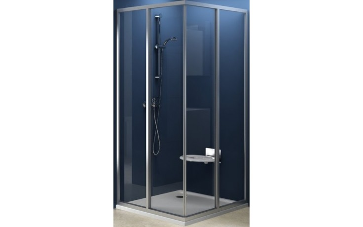 Zástěna sprchová dveře Ravak sklo SRV2-75 rohový vstup 75 bílá/grape