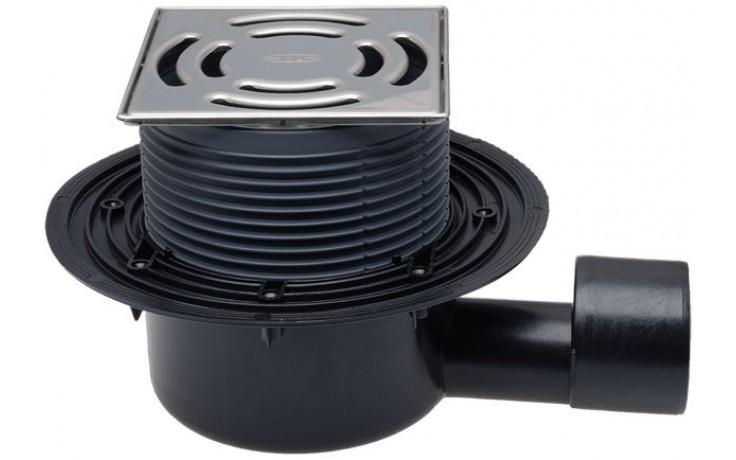 HL vpust DN50/75 podlahová, s vodorovným odtokem, polyetylen/nerez