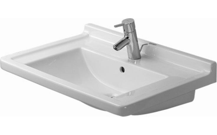 Umyvadlo klasické Duravit s otvorem Starck 3 s přetokem s plochou pro armaturu 48x46,5 cm bílá