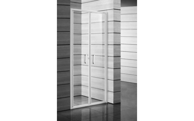 Zástěna sprchová dveře Jika sklo Lyra Plus 900x1900 cm bílá/stripy