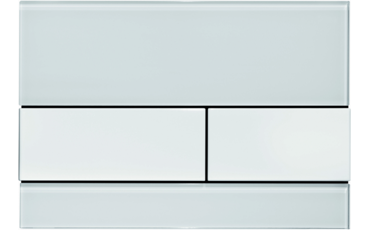 TECE SQUARE ovládací tlačítko 220x150mm, dvoumnožstevní splachování, bílé sklo/bílá