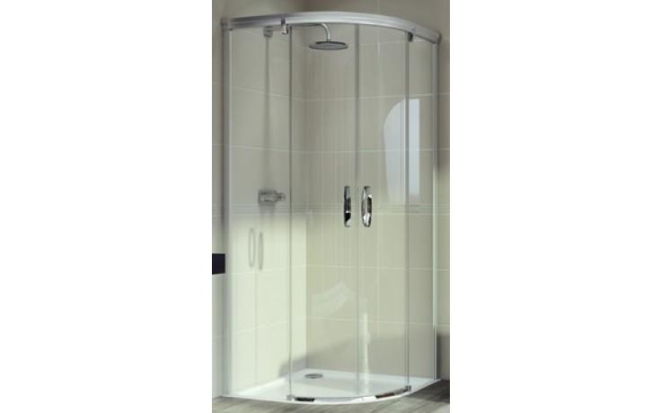 Zástěna sprchová čtvrtkruh Huppe sklo Aura elegance 900x1900 mm stříbrná lesklá/Sand Plus AP