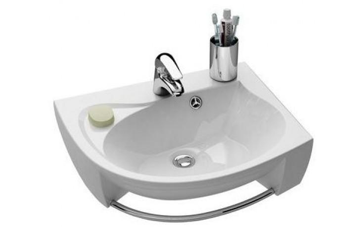 RAVAK ROSA speciální umyvadlo nábytkové 566x466x150mm z litého mramoru, pravé s otvorem, bílá