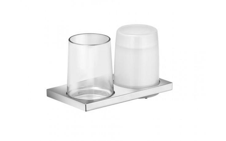 Doplněk držák se skleničkou Keuco Edition 11 set s dávkovačem  křišťálové sklo/chrom