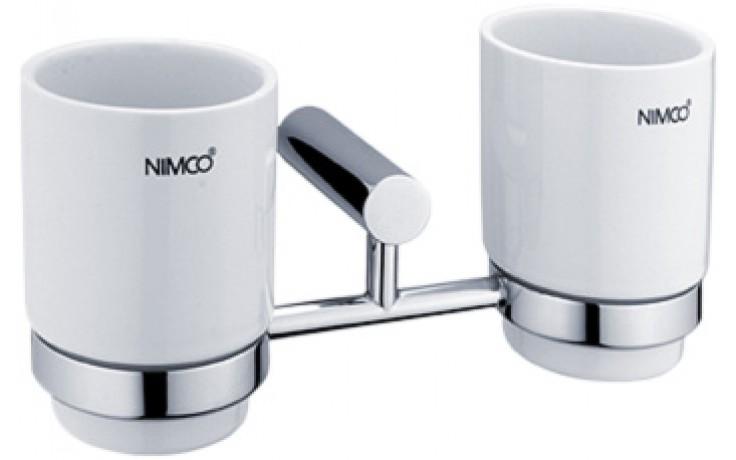 NIMCO BORMO držák sklenky dvojitý 236x104x104mm chrom/bílá BR 11058DK-26