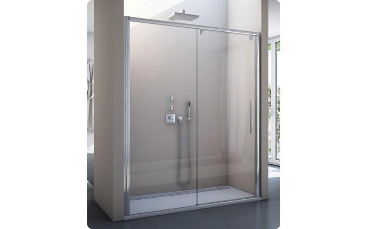 SANSWISS PUR LIGHT S PLS2  sprchové dveře 1200x2000mm jednodílné posuvné, s pevnou stěnou v rovině, pevný díl vpravo, aluchrom/čiré sklo Aquaperle