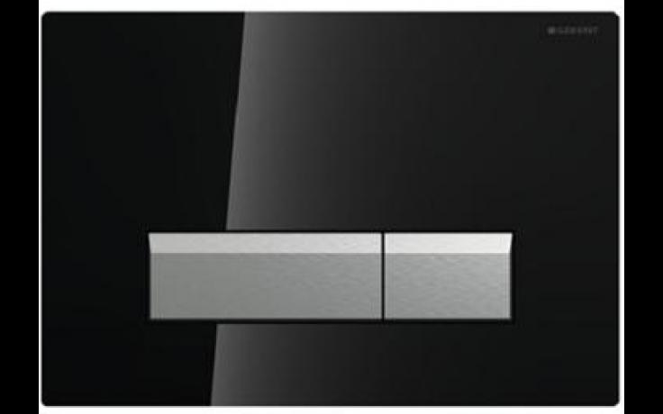 GEBERIT SIGMA 40 ovládací tlačítko s integrovaným odsáváním zápachu 26,6x18,2cm, sklo černé/kartáčovaný hliník 115.600.SJ.1
