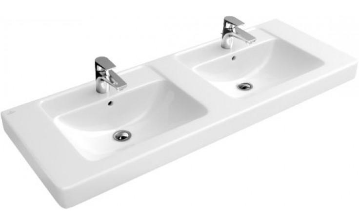 Umyvadlo klasické Villeroy & Boch s otvorem Verity Design dvojité 1300x485mm Bílá Alpin