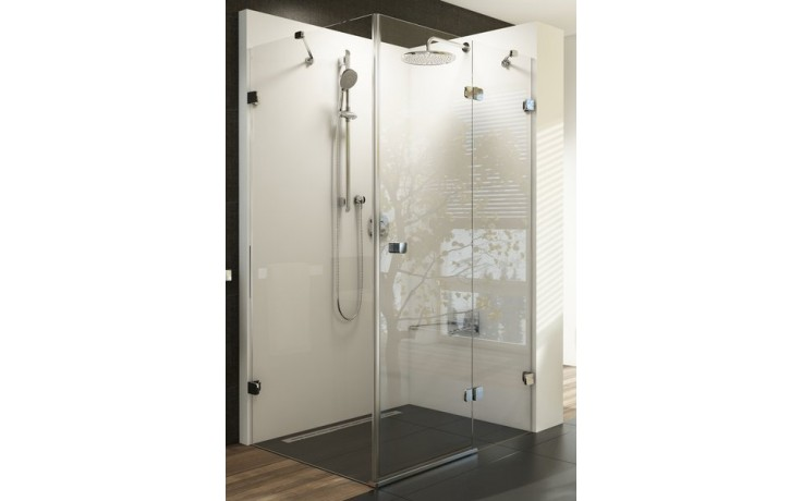 RAVAK BRILLIANT BSDPS-80R sprchové dveře 800x800x1950mm s pevnou stěnou, pravé, chrom/transparent