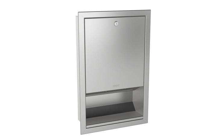 Zásobník papírových ručníků pro montáž pod omítku, nerezová ocel, hladký povrch, tloušťka materiálu 0,8 mm, zahnutý přední kryt, válcový zámek s univerzálním Franke klíčem, zásobní kapacita 500 - 800 útržků papíru v
