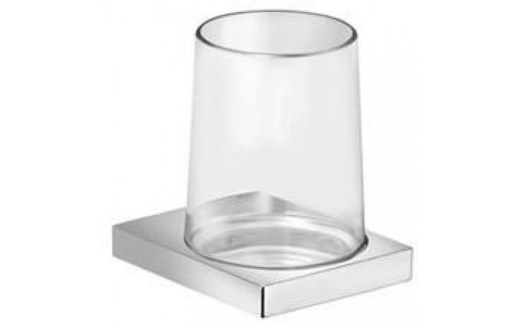 KEUCO EDITION 11 držák na skleničku a sklenička z ručne foukaného křišťálového skla 105x114mm, pochromováno