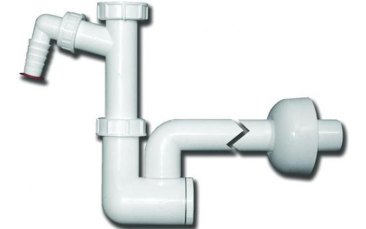"""HL zápachová uzávěra DN40x5/4"""" umyvadlová, s přípojkou pro pračku nebo myčku, polypropylen"""