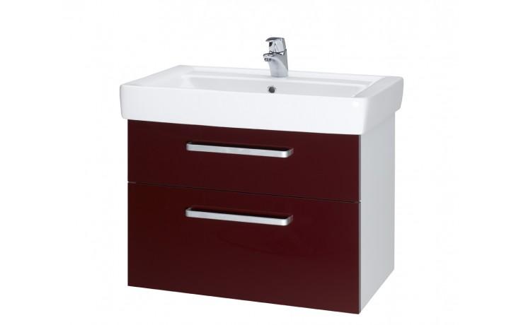 Nábytek skříňka s umyvadlem Dřevojas Q MAX 700 S závěsná - úchytka A 645x560x438 mm bílá lak/ červená vysoký lesk
