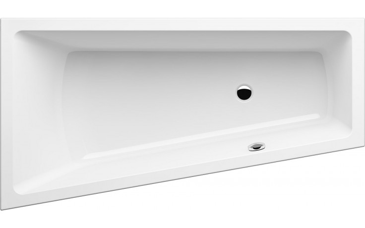 GKI MEMO tvarovaná vana 1700x900/600mm polorohová, s přepadem vlevo, akrylátová, bílá