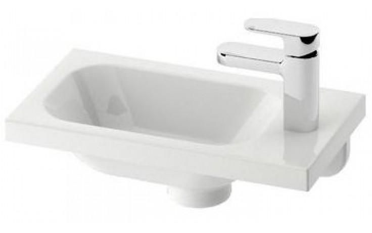 RAVAK CHROME 400 umývátko 400x220x120mm, pravé, s otvorem, bez přepadu, bílá/litý mramor
