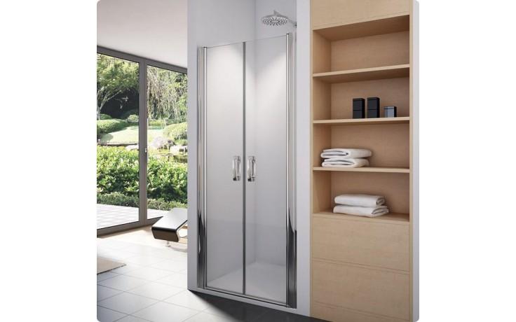SANSWISS SWING-LINE SL2 sprchové dveře 900x1950mm, dvoukřídlé, aluchrom/Cristal perly Aquaperle