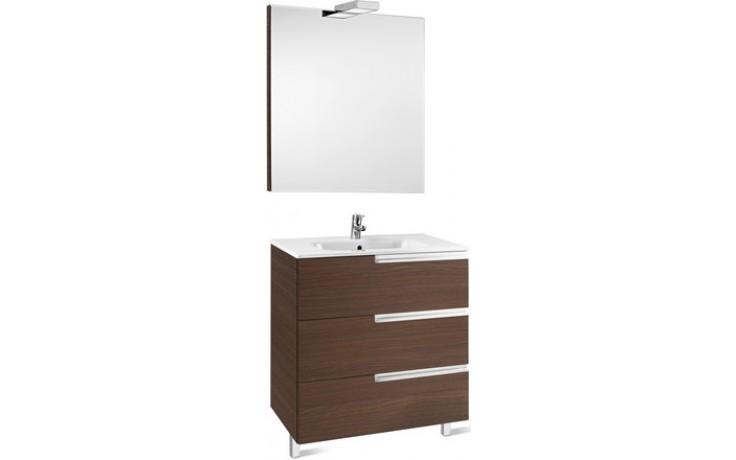 Nábytek sestava Roca Pack Victoria-N skříňka s umyvadlem+zrcadlo s osvět. 80 cm dub