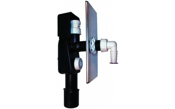 HL zápachová uzávěra DN40/50 podomítková vodní, integrovaný přivzdušňovací ventil, pro pračky a myčky, nerez ocel/polyethylen