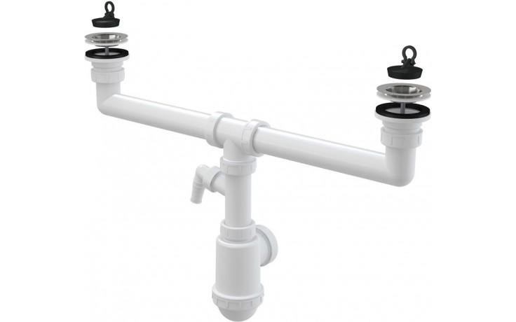 CONCEPT sifon pro dvoudřez s nerezovými mřížkami Ø70 a přípojkou, bílá/nerez
