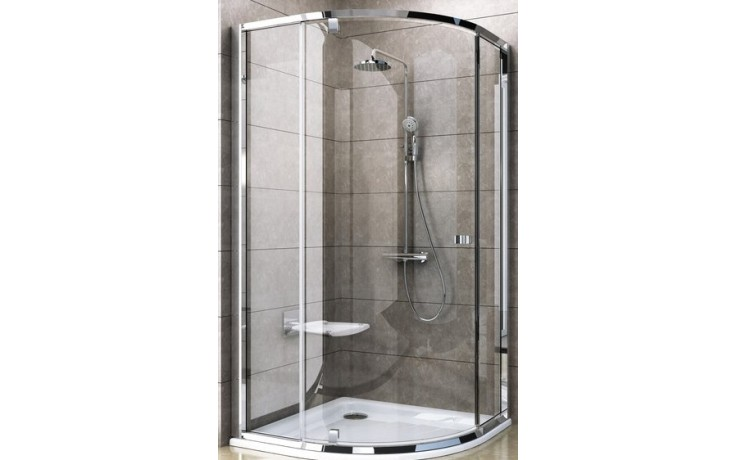 Zástěna sprchová čtvrtkruh Ravak sklo Pivot PSKK3 1000x1900/R500 satin/transparent