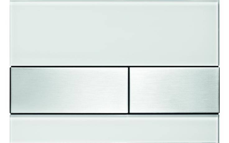 TECE SQUARE ovládací tlačítko 220x150mm, dvoumnožstevní splachování, bílé sklo/broušená nerezová ocel