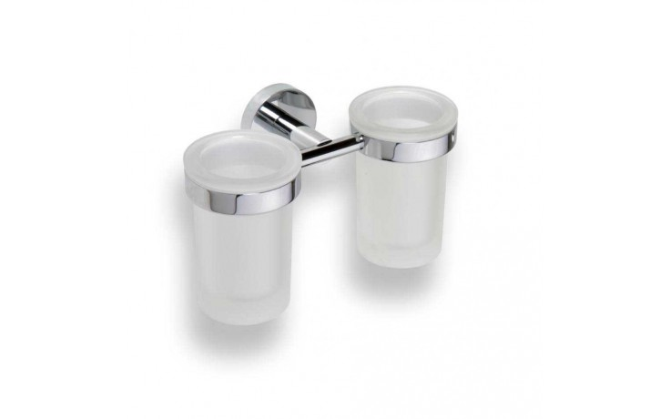 Doplněk držák se skleničkou GOZ METAL Inox II 706032 se 2 skleničkami 200x120x107 mm chrom