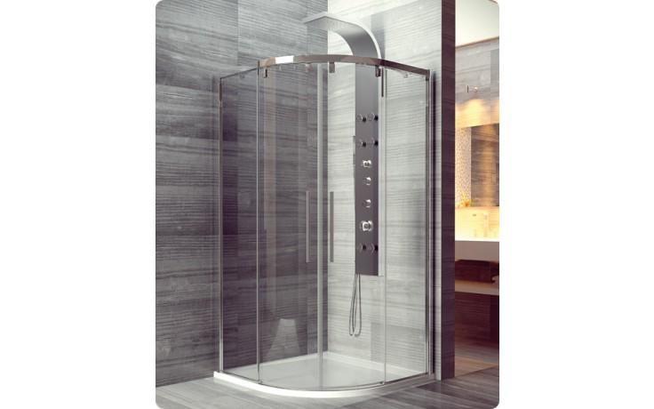 Zástěna sprchová čtvrtkruh Ronal sklo Pur Light S, PLSR 100 100x100,2000, r55 aluchrom/aquaperle