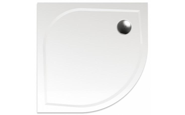 TEIKO VIRGO 80 sprchová vanička 80x80x3cm, R55cm, čtvrtkruh, litý mramor, bílá