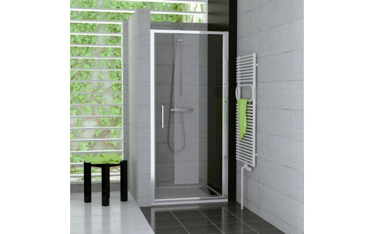 Zástěna sprchová dveře Ronal sklo Top-Line TOPP 1000 01 44 1000x1900 mm matný elox/cristal perly