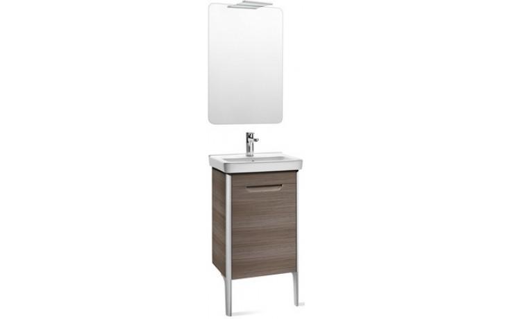 ROCA PACK DAMA nábytková sestava 450x320x645mm skříňka s umyvadlem a zrcadlem s osvětlením šedohnědá 7855823150