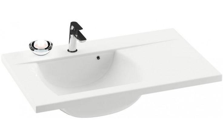 RAVAK CLASSIC 800 umyvadlo 800x490x207mm pravé, s otvorem a přepadem, bílá/litý mramor