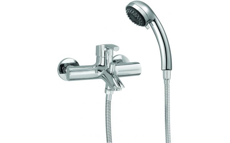 LAUFEN CURVEPRO vanová páková nástěnná baterie se sprchovou hadicí a ruční sprchou, chrom 3.2165.7.004.145.1