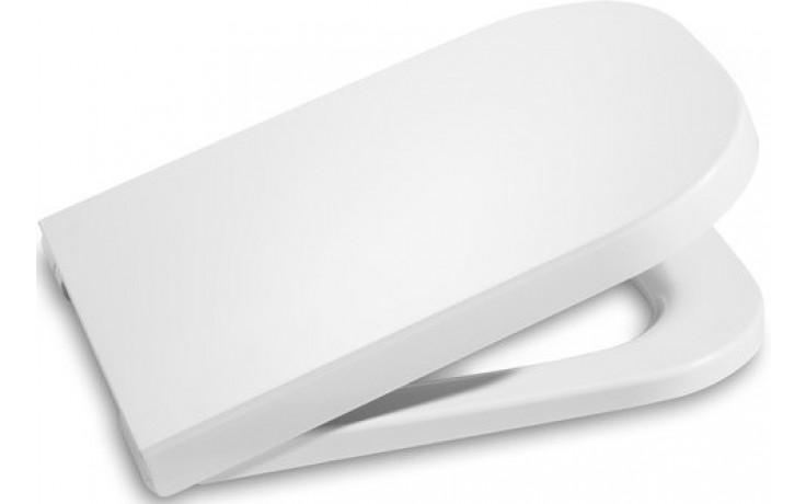 ROCA THE GAP klozetové sedátko s poklopem, s nerezovými úchyty, odnímatelné, s antibakteriální úpravou, Slowclose, bílá